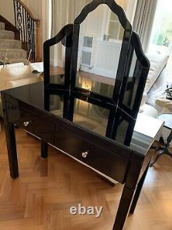 2 Drawer Black Glass Dressing Table With Mirror