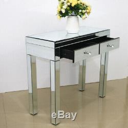 2 Drawer Dressing Table & Stool Set Mirrored Glass Vanity Dresser Bedroom