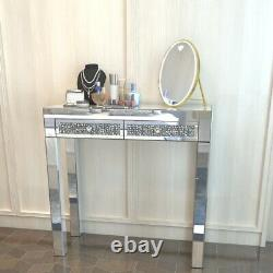 2 Drawers Dressing Table Mirrored Glass Dresser Vanity Table Sparkly Crystal