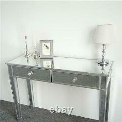 2 Drawers Glass Dressing Table Mirrored Bedroom Make-Up Console Vanity Table