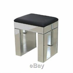 2 Drawers Glass Dressing Table Set / 3 Drawers Bedside Tables Cabinet Mirrored