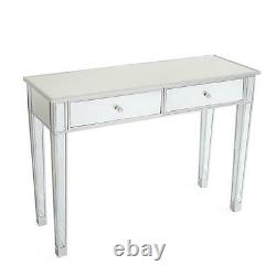 2 Drawers Glass Mirrored Makeup Dressing Table Sturdy Large Worktop Vanity Table