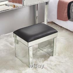 2 Drawers Mirror Dressing Table Vanity Dresser Console Bedroom Stool Set Makeup