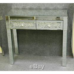 2 Drawers Mirrored Glass Dressing Table With Stool Mirror Console Furniture