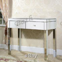 2xDrawers Mirrored Glass Dressing Table Bedroom Console Vanity Make-up Desk UK