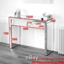 50s Style Angled 2 Drawer Mirrored Dressing Table Hall Console Glass VEN25