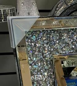 60x80 Diamond Crush Crystal Dressing Silver Wall Mirror Rectangle Gatsby Bling