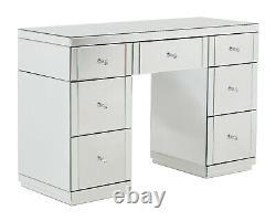 7 Drawer Mirrored Dressing Table Silver Venetian Bedroom Furniture
