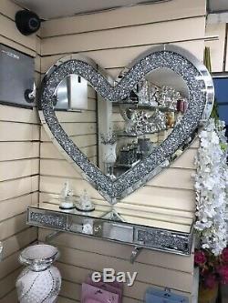80x70cm Diamond Crush Crystal Dressing Silver Wall Mirror Heart Gatsby Bling