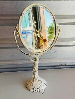 Antique 30s 40s Art Deco Pinup Lady in Dress Dresser Vanity Swivel Mirror WOW