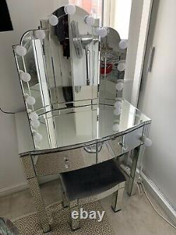 Argos Home Canzano Mirrored 2 Drawer 3 Piece Dressing Table Set