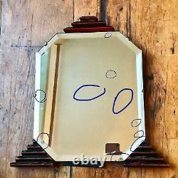 Art Deco Self Standing Vanity Dressing Table Mirror With Stepped Legs & Finial