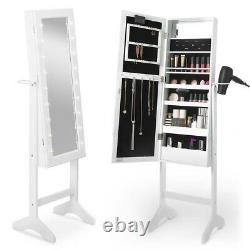 (BEAUTIFUL) White LED Armoire Storage Mirror Standing Dressing Bedroom Vintage