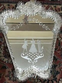 Beautiful Italian French Venetian Murano Antique Dressing Table Mirror