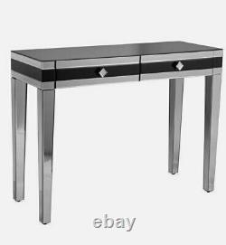 Beautify Black Mirrored Dressing Table/Console/Vanity/Desk 2 Storage Drawers