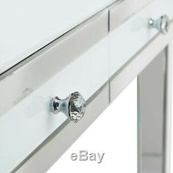 Beautify Mirrored Dressing Table With 2 White Drawers & Crystal Handles