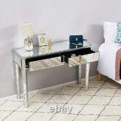 Bedroom Drawers Mirrored Glass Dressing Table Cushioned Stool Mirror Vanity Set