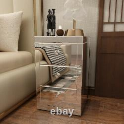Bedroom Furniture Mirrored Drawers Bedside Table Glass Drawers Dressing Table