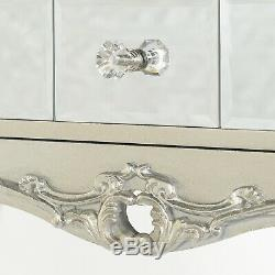 Bella Mirrored Dressing Table Vanity Set Antique Silver French Stool Console New