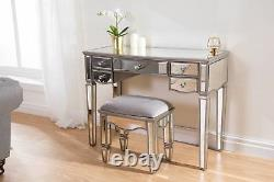 Birlea Elysee Mirrored 5 Drawer Dressing Table Mirror Furniture Crystal Handle