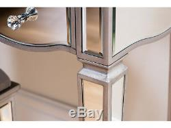 Birlea Elysee Mirrored Dressing Table with 5 Drawers Glass Bedroom Furniture