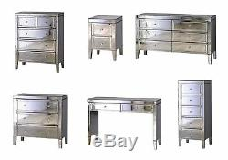 Birlea Valencia Mirrored Bedroom Furniture Chests Bedsides Dressing Table