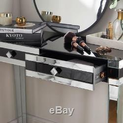 Black Mirrored Dressing Table Drawers High Gloss Glass Mirror Make Up Desk New