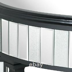 Black Mirrored Glass Half Moon Console Side Hall Dressing Table (h20653)