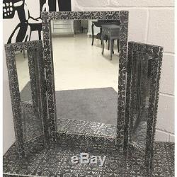 Blackened Silver Metal Embossed Dressing Table + Mirror + Stool + x2 Bedside Set