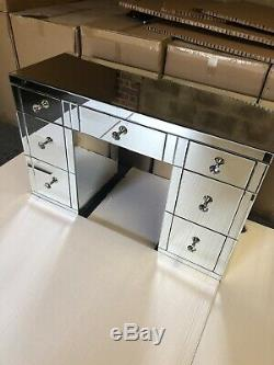 Brand New Classic Mirrored 7 Drawer Dressing Table