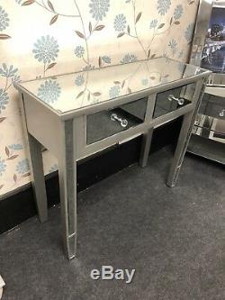 Champagne Trim Mirrored Glass 2 Drawer Console Table Dressing Table