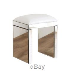 Chic Venetian Glass Mirrored Bedroom Dressing Table or Console Table with Stool