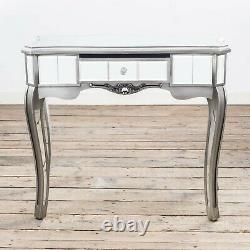 Clearance- Antique Silver French Mirrored Glass Hall Side Console Dressing Table