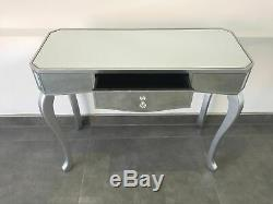 Contemporary Mirrored Venetian Dressing Table Console Table with Silver Trim