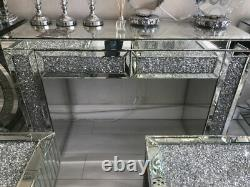 Crushed Crystal Mirrored Dressing Table with 2 Drawers, diamond crush 120cm