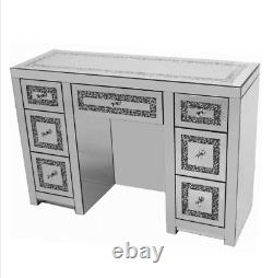 Crushed Crystal Mirrored Dressing Table with 7 Drawers, glitz crushed diamond
