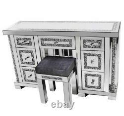 Crushed Diamond Crystal 7-drw Dressing Table + Grey Stool Set VERY RARE DESIGN