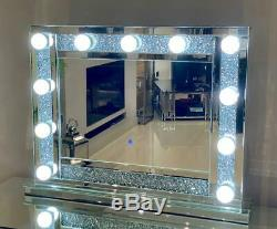 Crushed Diamond Large Hollywood Mirror Dressing Table Mirror 80 x 60 cm