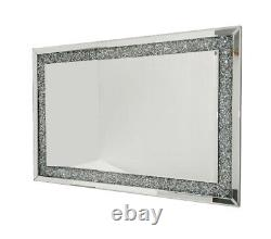Crushed Diamond Mirror 100x70cm Crystal Dressing Silver Sparkly Full Length Wall