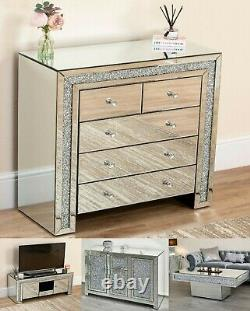 Crushed Diamond Mirror Coffee Table Sideboard Cabinet Glass Bedside TV Stand