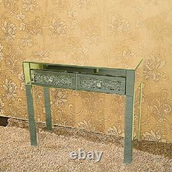 Crystal Dresser Mirrored 2 Drawers Dressing Table Console Make up Table uk