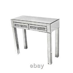 Crystal Dresser Mirrored 2 Drawers Dressing Table Console Vanity Table UK Stock