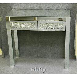 Crystal Mirrored Dressing Table Makeup Desk 2 Drawers Mirror Bedroom