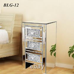 Crystal Mirrored Glass Bedroom Range Bedside Dressing Table Chests of Drawers