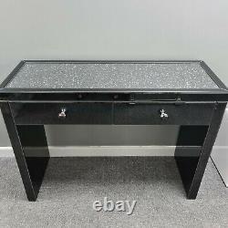 Diamond Crush Black Mirrored Glass 2 Drawer Dressing Table Crushed Glitz Crystal