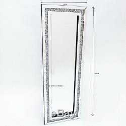 Diamond Crush Crystal Dressing Silver Sparkly Full Length Wall Mirror Glitz