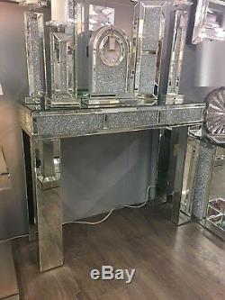 Diamond Glitz Mirrored Crushed Crystal Bricks Console Display Dressing Table