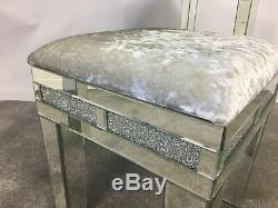 Diamond Glitz Mirrored Crystal Crushed Velvet Upholstered Dressing Table Stool