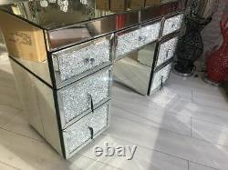 Diamond Glitz Silver Mirrored Glass 7 Drawer Dressing Table Crushed Crystals New