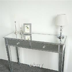 Drawers Glass Dressing Table Mirrored Bedroom Make-Up Console Vanity Table